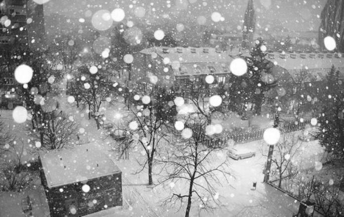 Town Snow Falling